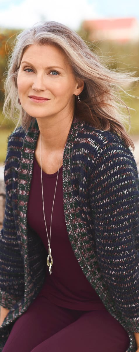 The Comfy-Cozy Outfit: the multi-colored coatigan sweater, slub layering tunic, ponte legging, with a long link pendant necklace.