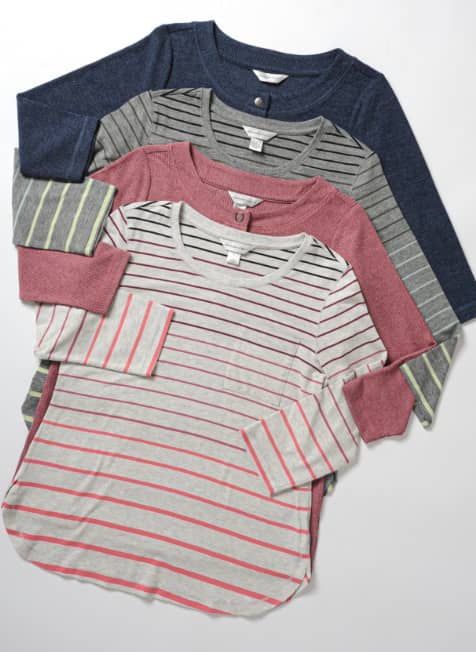 "The ""relaxed.Restyled.® Printed Ombre Stripe Tee""."