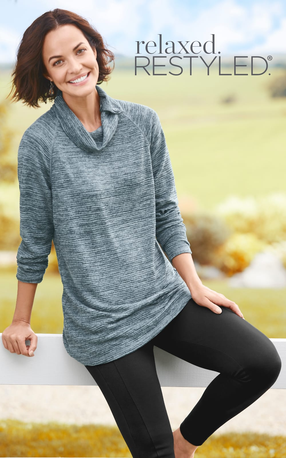 """relaxed.Restyled.® Our """"Relaxing With The Family"""" Outfit featuring relaxed.Restyled.® Rib Ottoman Split Neck, Signature Slimming Ponte Legging, and Oval Drop Earrings."""