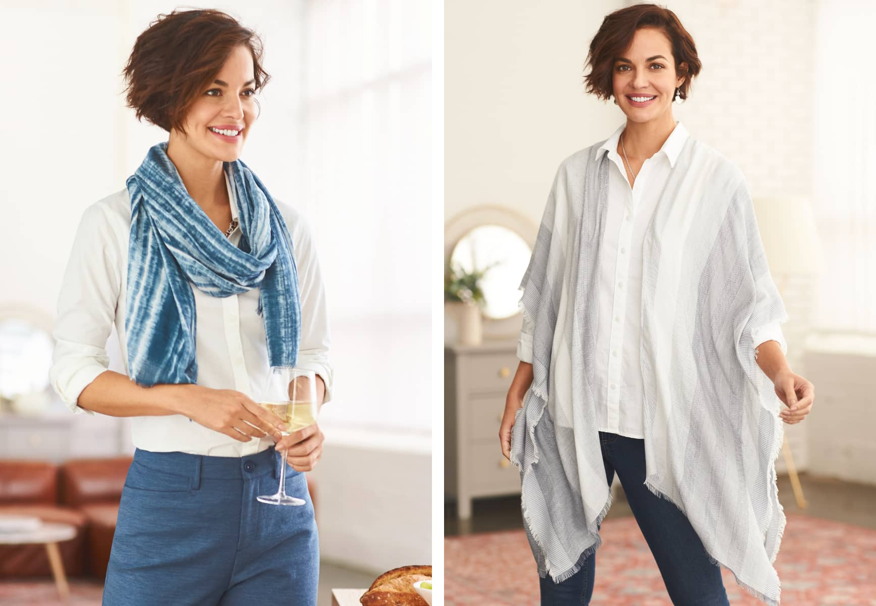 The Perfect Shirt (in eucalyptus) with a washed tie-die printed scarf alongside the Lightweight Striped Ruana wrap.