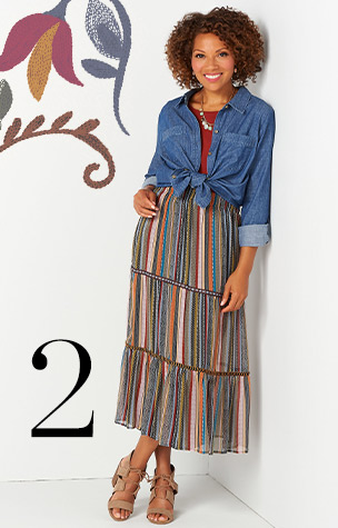 2. Try combining the Tiered Multi-Stripe Skirt with a Denim Detail Stitch Shirt.