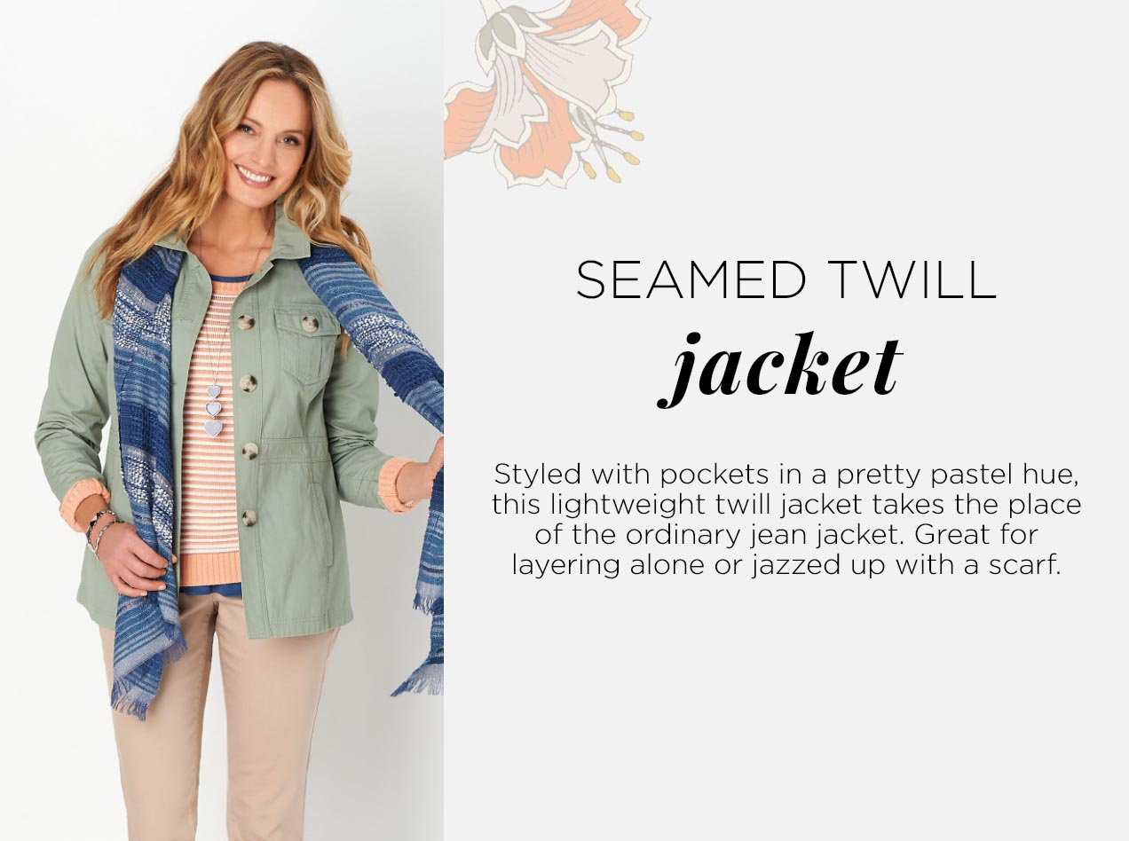 Seamed Twill Jacket: Styled with pockets in a pretty pastel hue, this lightweight twill jacket takes the place of the ordinary jean jacket. Great for layering alone or jazzed up with a scarf.