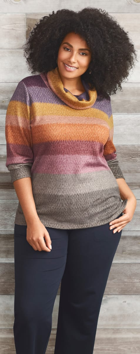 The Relaxed. Restyled.® Blocked Striped Cowl Pullover.