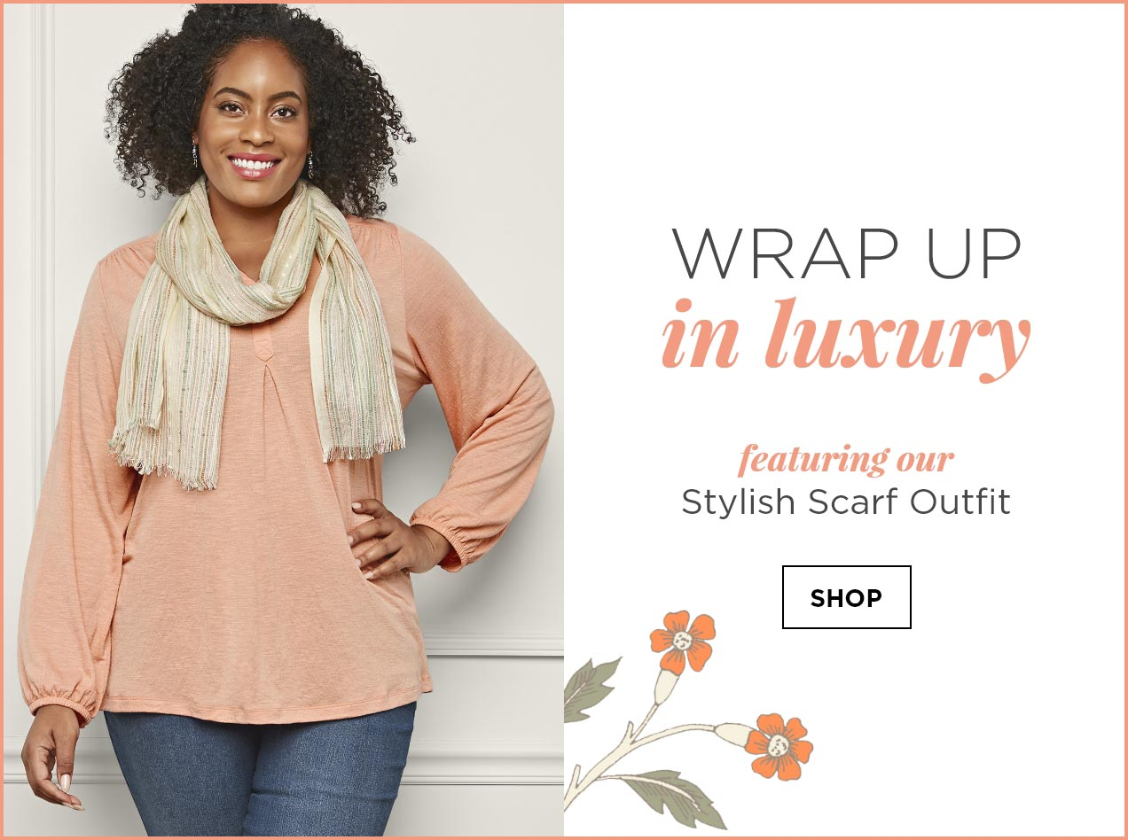 Wrap Up in Luxury. Featuring our Stylish Scarf Outfit: including the Solid Knit Texture Plus-Size Blouse, Everyday Straight Plus-Size Jean Average Relaxed Fit, and a Wavy Colored Shine Scarf. Shop.