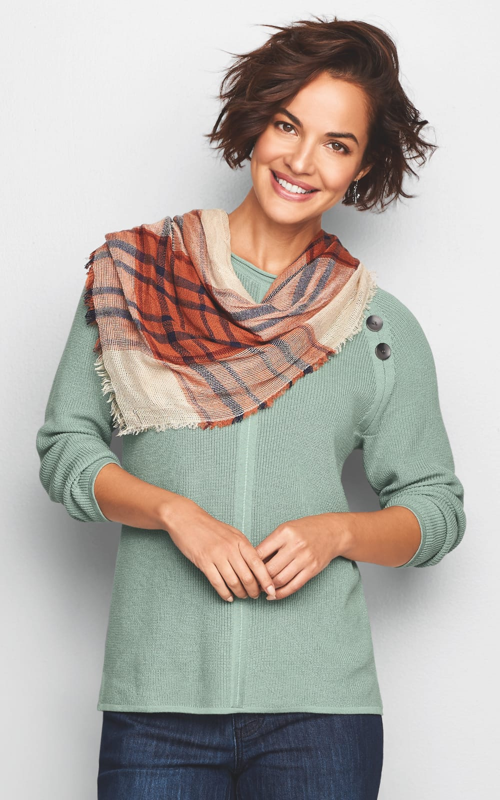 The Apple Orchard Outfit (combining the Reglan Sleeve Button Shoulder Pullover Sweater, the Fall Plaid Scarf, the Everyday Straight Jean, and the Tiger's Eye Drop Earring).