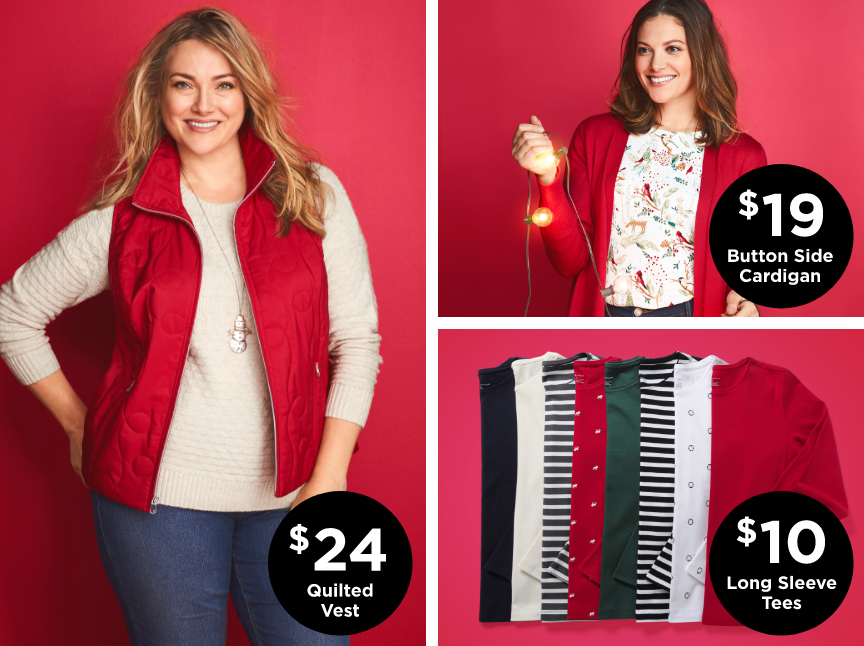 $24 Quilted Vests; $19 Button Side Cardigan; $10 Long Sleeve Tees