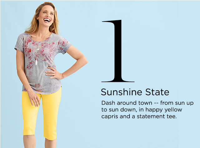 1. Sunshine State. Dash around town -- from sun-up to sun-down, in happy yellow capris and a statement tee.