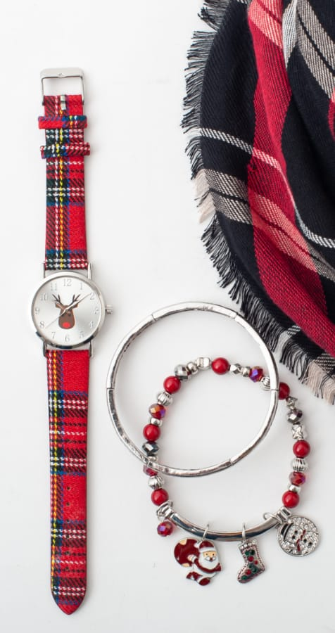 The Checkmate Gift Set: Featuring the Buffalo plaid scarf, santa stretch bracelet, with a plaid watch.