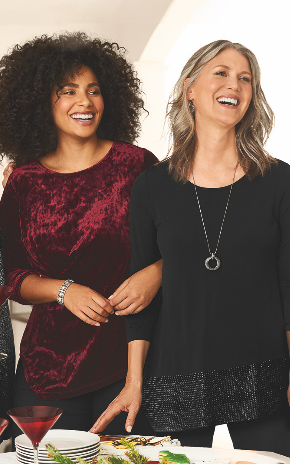 Holiday Outfits Featuring the Easy wear velvet top, easy wear slim pant, with a snowflake stretch bracelet and the Easy wear embellished asymmetrical hem top, easy wear slim pant,  with a twisted rings necklace.