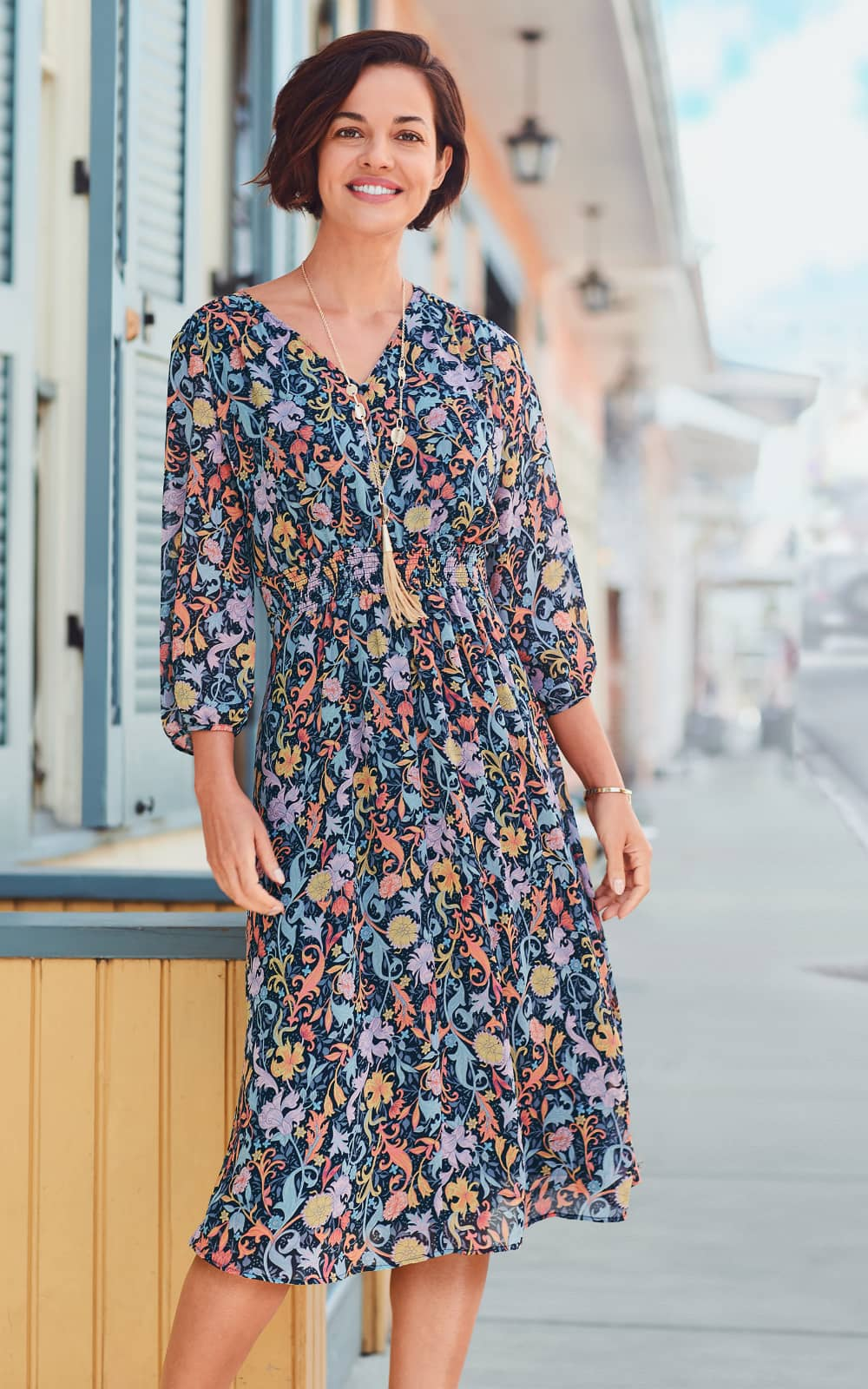 """Our """"Smocked Floral"""" Outfit featuring our Smocked Waist Dress."""