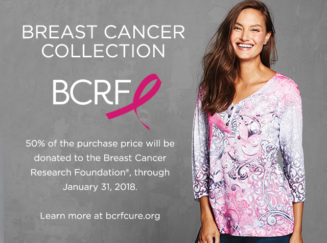 Breast Cancer Collection benefitting the BCRF (Breast Cancer Research Foundation). 50% of the purchase price will be donated to the BreastCancer Research Foundation®, through January 31, 2018. Learn more at bcrfcure.org. Christopher & Banks® | cj banks® Misses, Petite and Plus Size Women's Clothing Category - Breast Cancer Collection