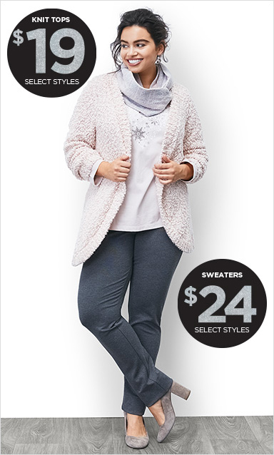 Knit Tops: $19 (Select Styles) and Sweaters: $24 (Select Styles)!