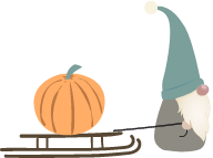 Pumpkin Being Pulled on a Sleigh by an Elf
