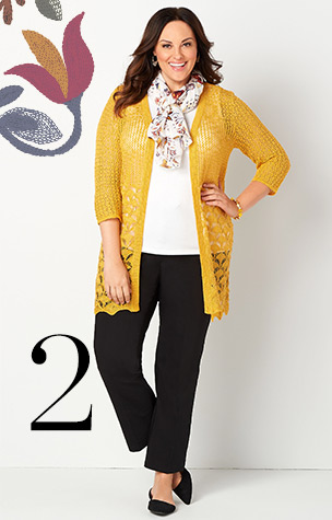 2. Try combining the Pointelle Knit Cardigan Sweater with a White Sleeveless Tanktop and Pants.