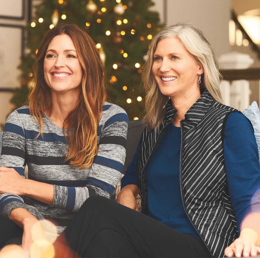 Holiday Relaxed Restyled Outfits Featuring the Relaxed restyled striped top with the relaxed restyled pull-on legging and the Relaxed restyled crossover hem top, relaxed restyled chevron vest, with the relaxed restyled pull-on legging.