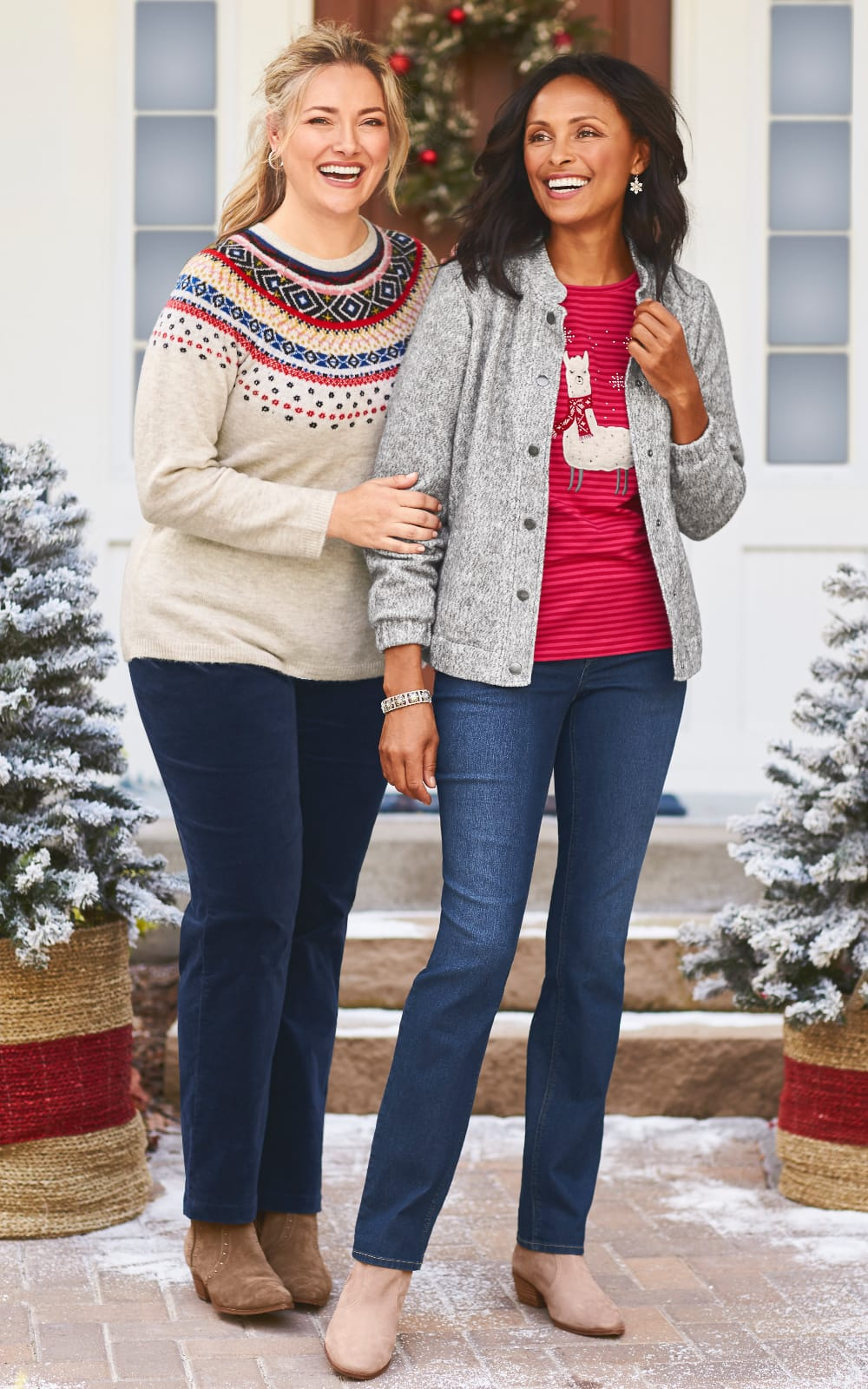 Holiday Outfits featuring the Fairisle pullover with an uncut corduroy pant and the Marled bomber jacket, fa-la llama striped top, everyday barely boot jean, with a snowflake stretch bracelet.