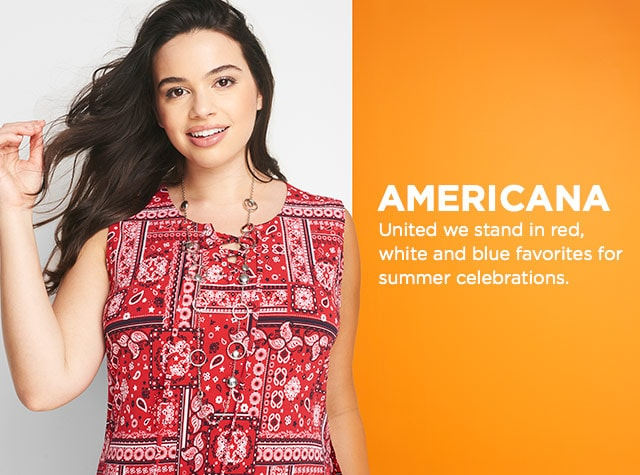 Collection: Americana - United we stand in red, white, and blue favorites for summer celebrations.