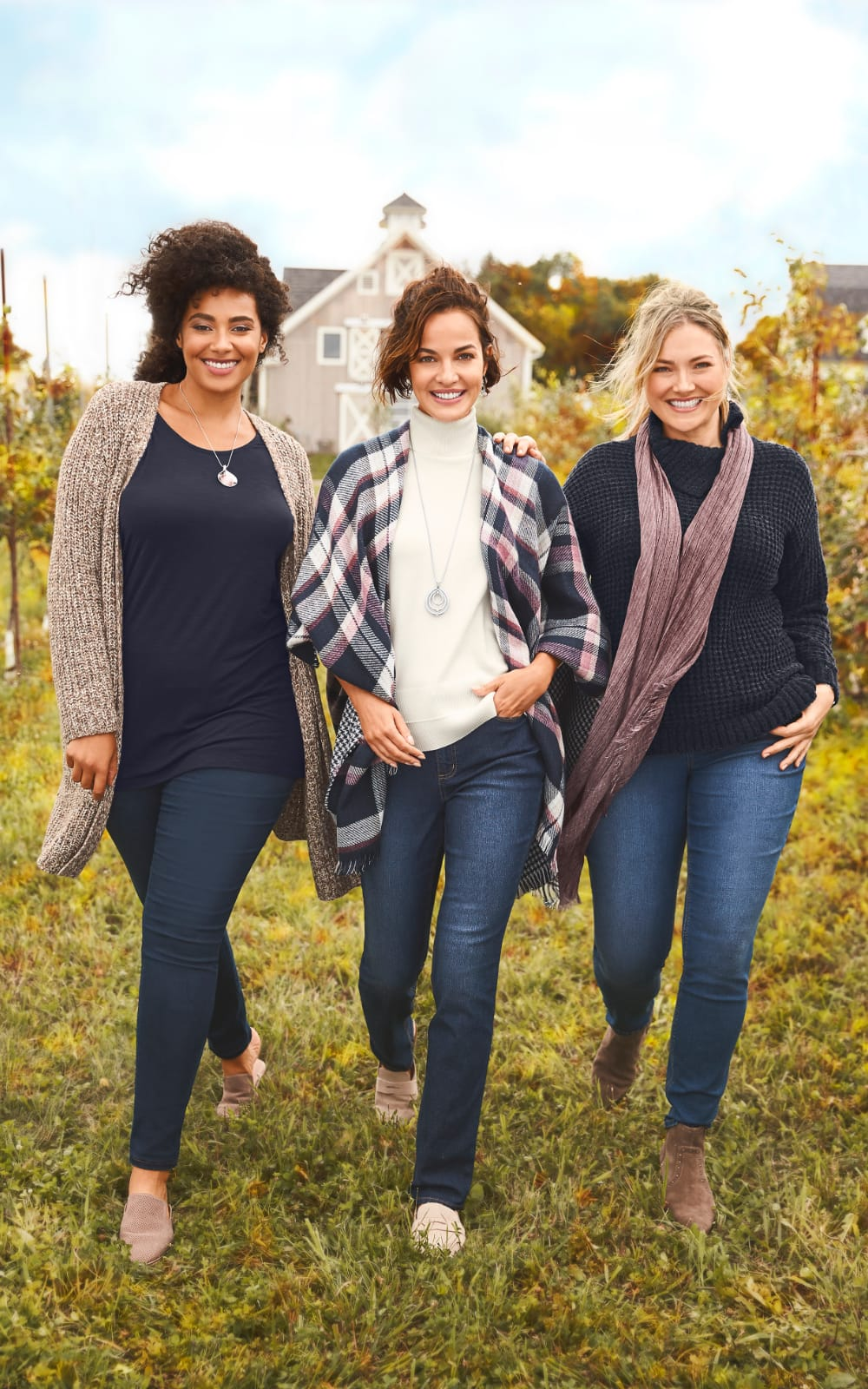 Speckled coatigan sweater, essential tank, jean legging, with a cats eye pendant necklace alongside a white turtleneck, plaid ruana, double teardrop necklace, with an everyday tapered jean alongside a split collar lightweight plush pullover sweater, scarf, and everyday slim jean.