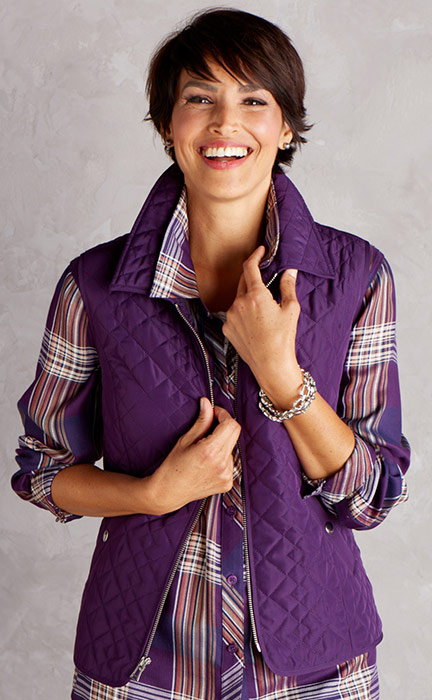 Colorfall Sale Woman in vest with plaid shirt