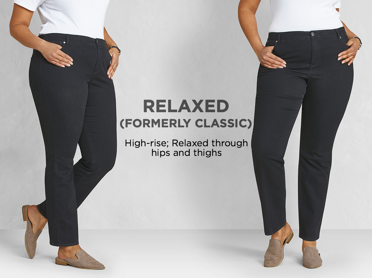 """Relaxed (Formerly: """"Classic""""): Relaxed through hips and thighs."""