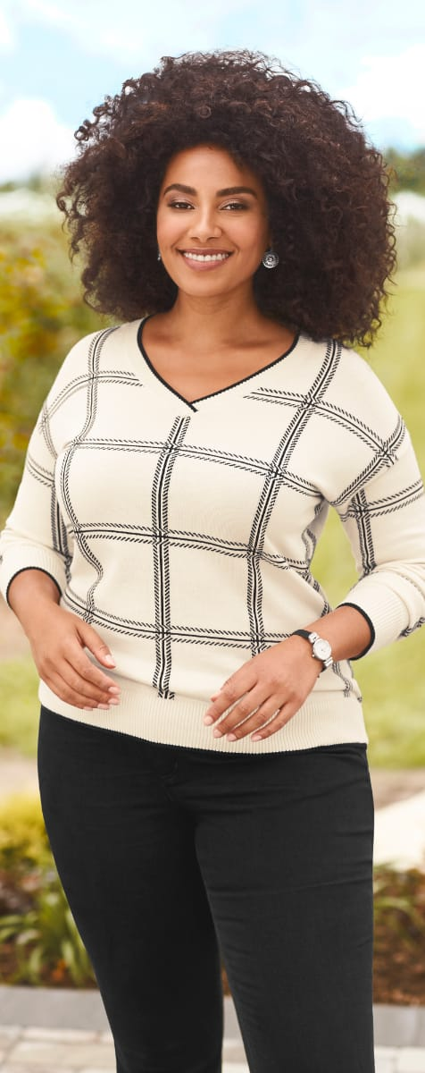 The V-Neck Plaid Pullover Sweater.