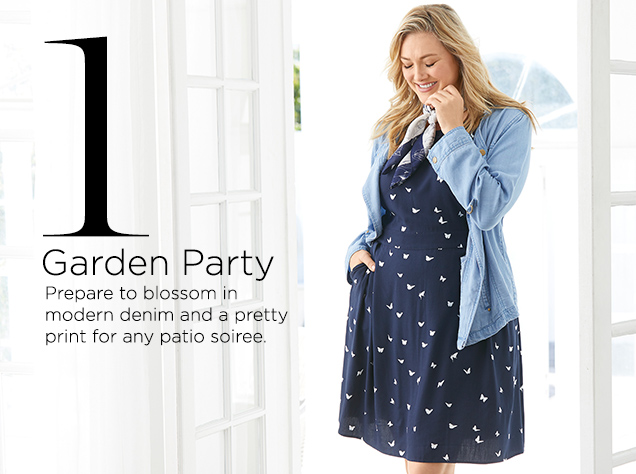 1. Garden Party. Prepare to blossom in modern denim and a pretty print for any patio soiree.