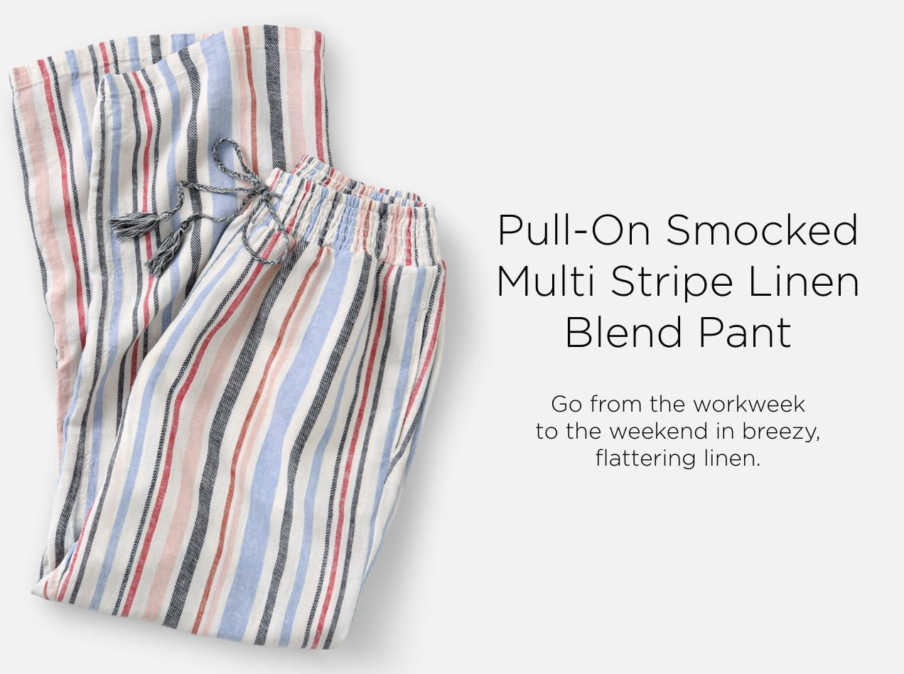 Pull-On Smocked Multi-Stripe Linen-Blend Pant. Go from the work-week to the weekend in breezy, flattering linen.
