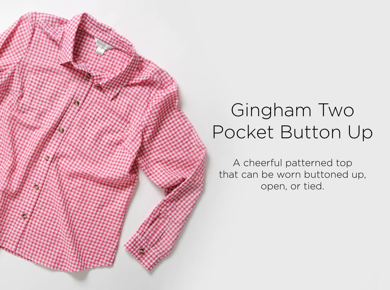 Gingham Two Pocket Button-Up: A cheerful patterned top that can be worn buttoned up, open, or tied.