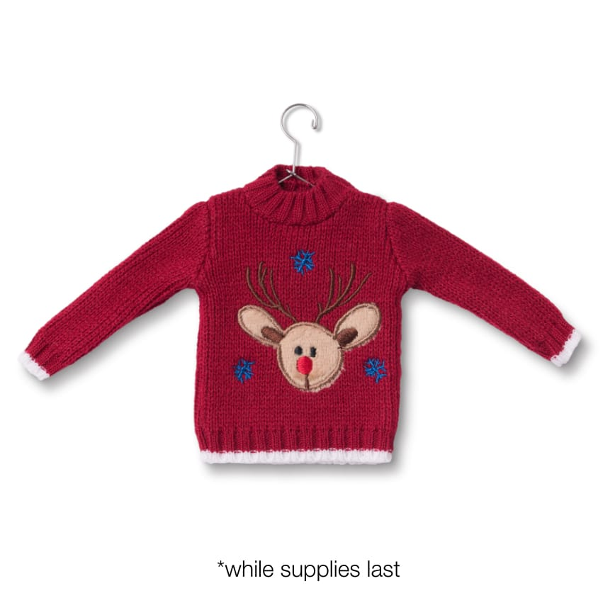 The Reindeer Sweater Ornament: While supplies last!