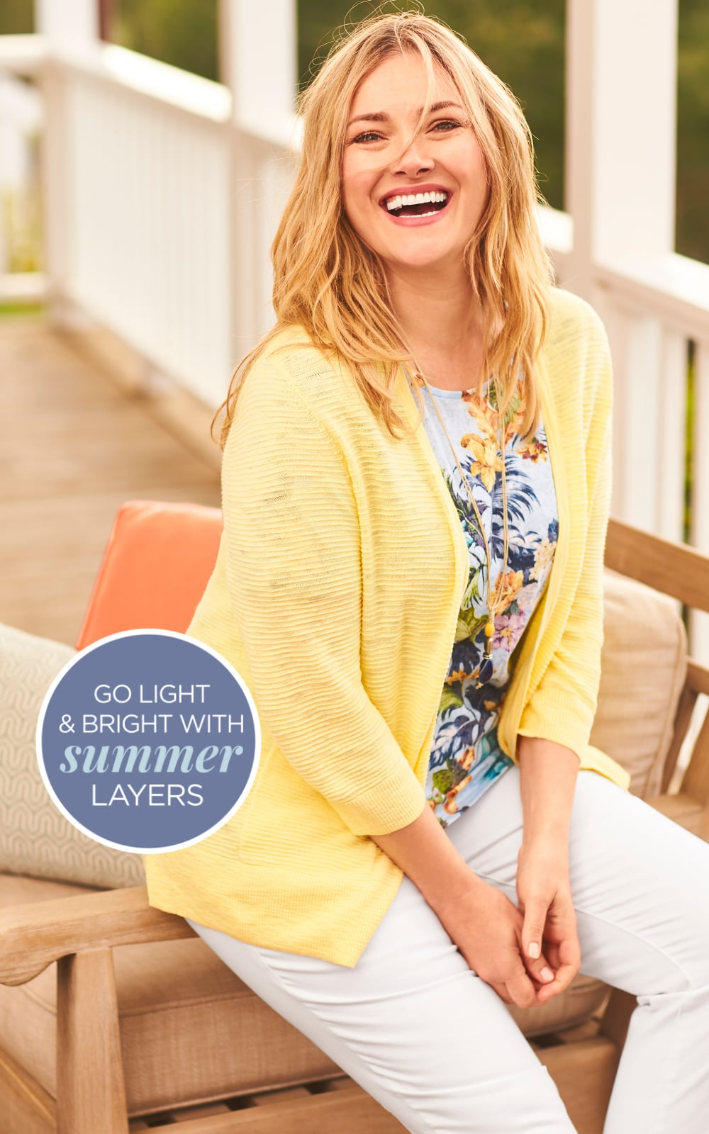 """Go Light & Bright with Summer Layers! Our """"Light and Bright"""" Outfit featuring a Tropical Floral Tee, a Textured Yarn Solid Cardigan Sweater, and a Signature Slimming Ankle Jean."""