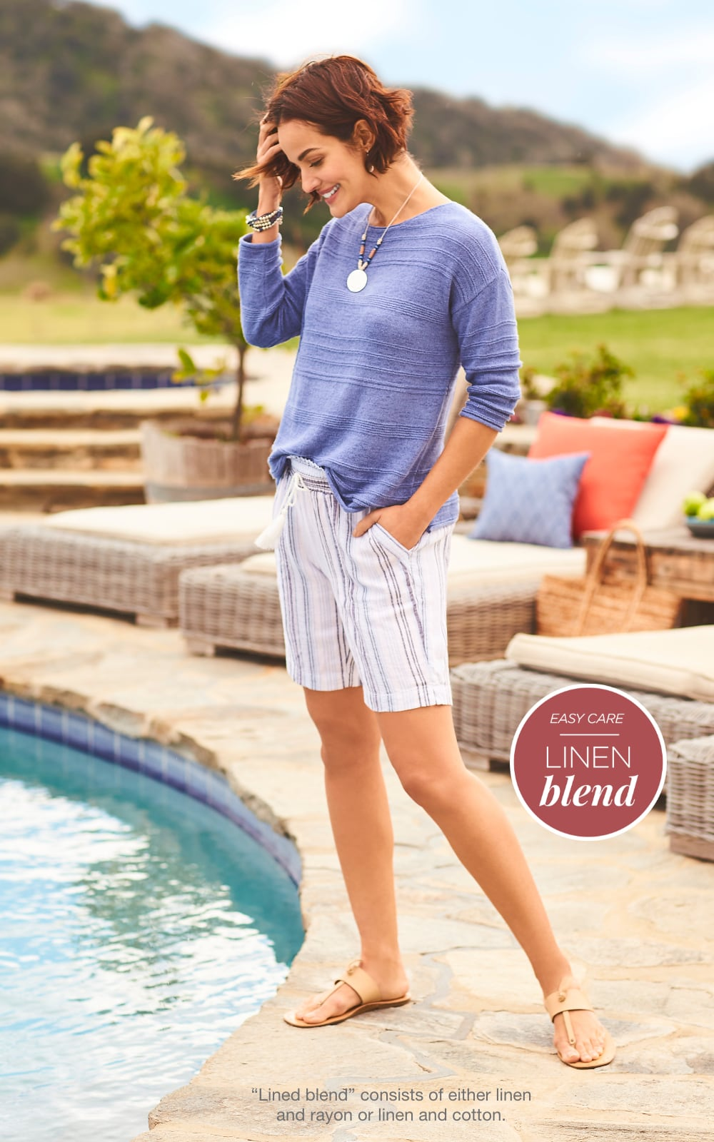 """Easy Care Linen Blend! Our """"Ottoman Sweater"""" Outfit. """"Linen blend"""" consists of either linen and rayon or linen and cotton."""