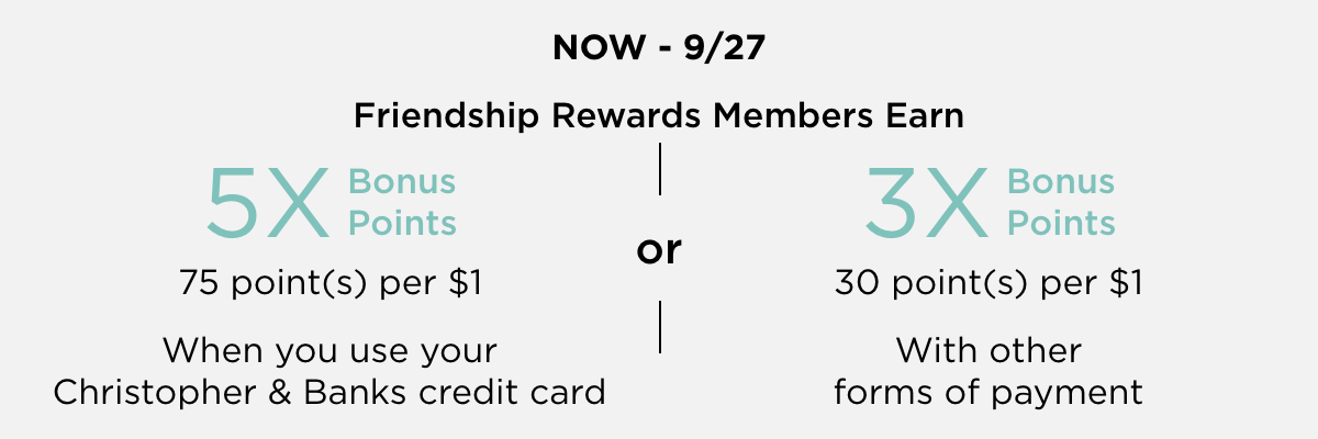 Now through September 27th, 2020: Friendship Rewards Members Earn 5-times Bonus Points (or 75 points per $1) when you use your Christopher & Banks credit card, or, Earn 3-times Bonus Points (or 30 points per $1) with any other form of payment!