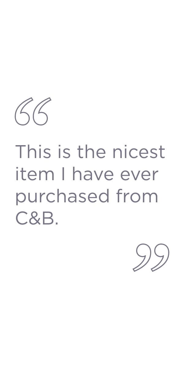 This is the nicest item I have ever purchased from C&B.