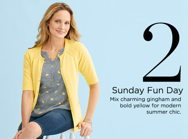 2. Sunday Fun Day. Mix charming gingham and bold yellow for modern, summer chic.