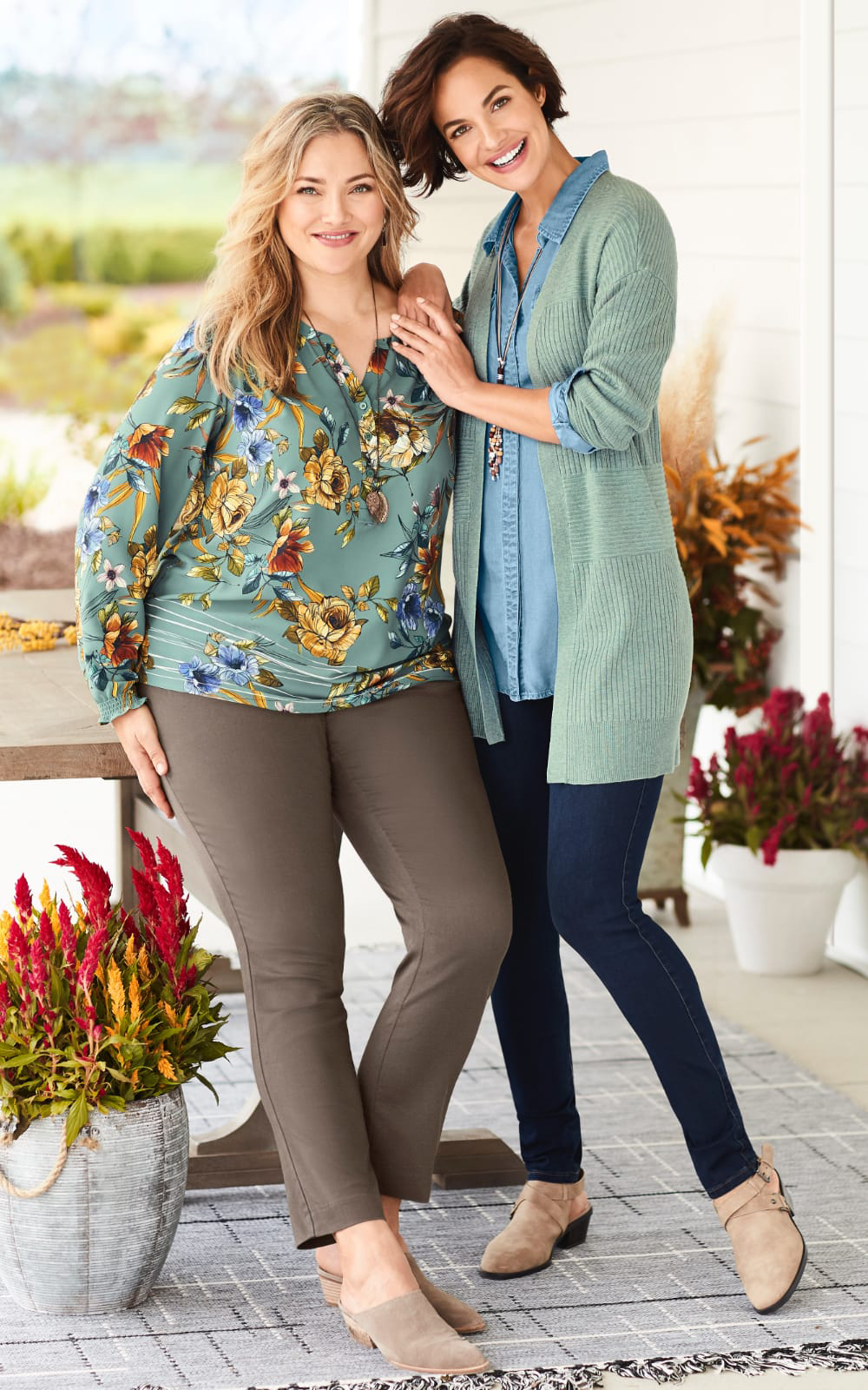 The Pioneer Woman Autumn Floral Outfit (combining the Floral Border Print Blouse, the Super Stretch Tapered Pant, the Chocolate Finish Leaf Earring, and the Long Chocolate Finish Leaf Pendant Necklace) and The Pioneer Woman Serene Blue Outfit (combining the Drapey Denim Tunic, the Ribbed Open Cardigan Sweater, Jean Legging, Wood Bead Cluster Earrings, and Long Corded Lariat Necklace).