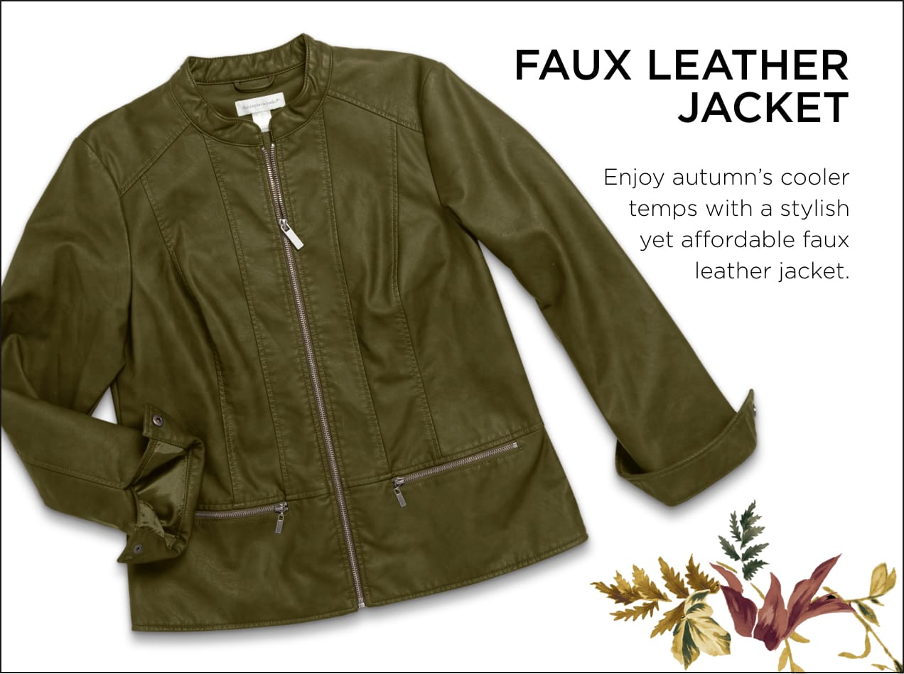Faux Leather Jacket: Enjoy autumn's cooler temperatures with a stylish yet affordable faux-leather jacket.