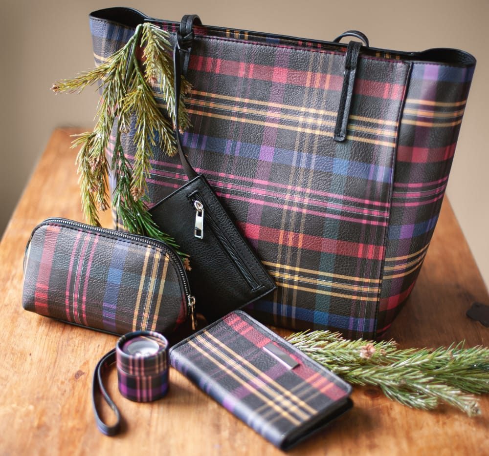 The Tartan Treasure Gift Set: Featuring the Plaid tote bag, plaid cosmetic bag, plaid wristlet, with a snowflake box set.