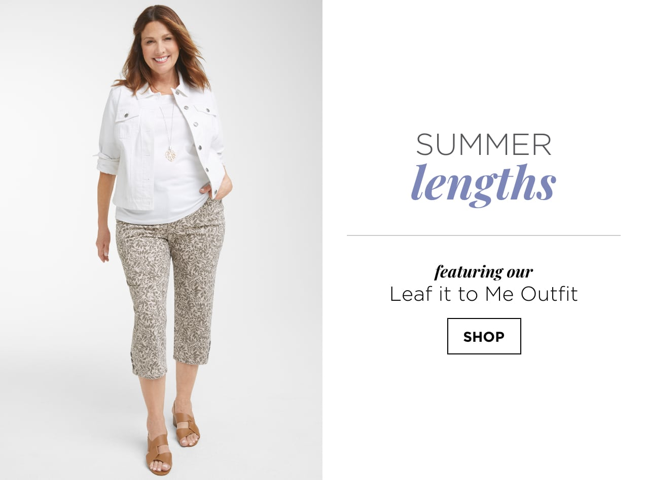 """Summer Lengths. Featuring our """"Leaf it to Me"""" Outfit: including the Mini Leaf Printed Plus-size Crop, a Solid Pleat Back Plus-size Denim Jacket, and a Sleeveless Basic Plus-size Tank Top. Shop."""
