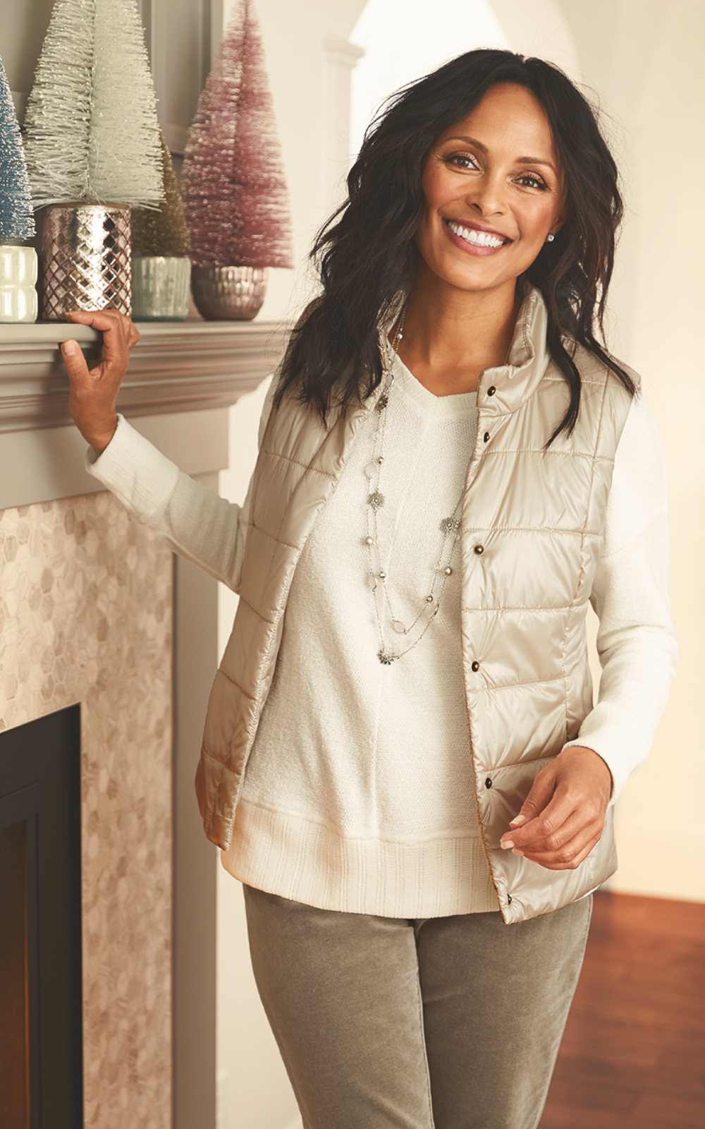 The Ice, Ice Baby Outfit: Featuring the Chenille knit top, metallic quilted vest, uncut corduroy pants, with a double layer necklace.