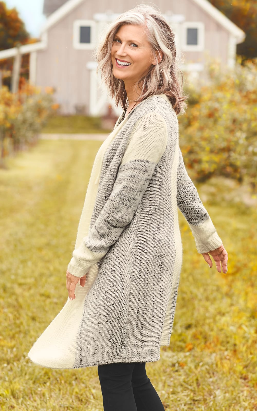 The Color Blocked Drapey Cardigan Sweater.