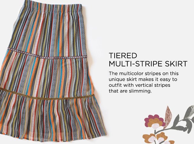 Tiered Multi-Stripe Skirt: The multicolor stripes on this unique skirt makes it easy to outfit with vertical stripes that are slimming.