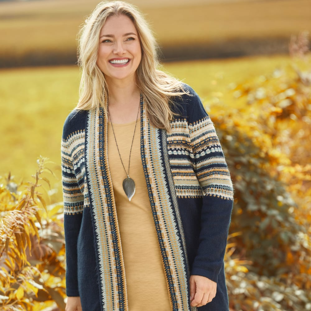 """Our """"Cozy Stripes"""" Outfit featuring a Knit Layering Tunic, Fair Isle Coatigan Sweater, Button Detail Straight Jean Short Shaped Fit, and a Long Mixed Leaf Necklace."""