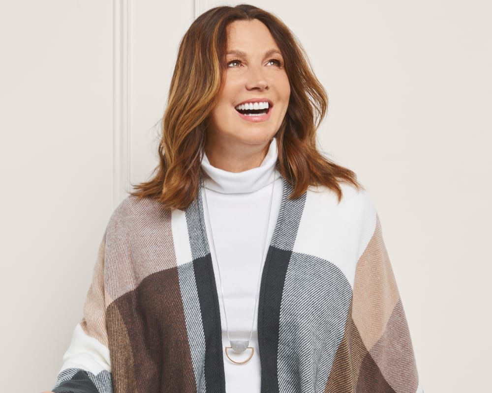 """The Christopher & Banks """"Home Office Layers"""" Outfit featuring our Turtle Neck Solid Pullover Sweater, Everyday Trouser Pant Average Relaxed Fit, Neutral Plaid Ruana, and a Long Geo Necklace."""