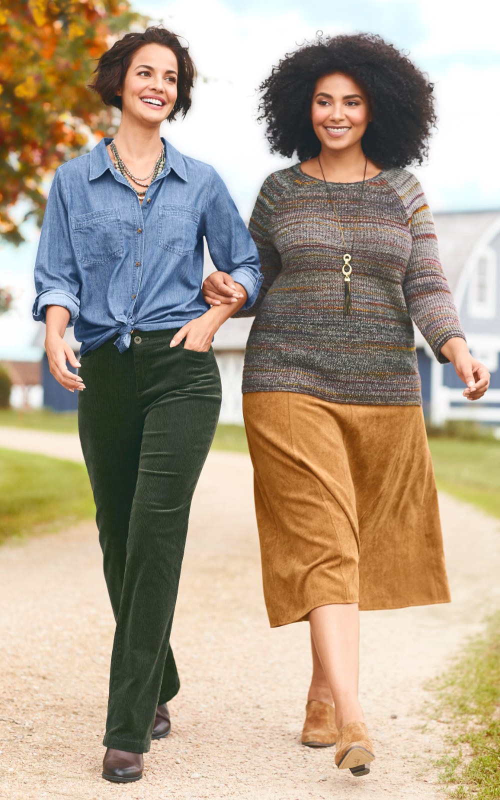 The Rich Corduroy Outfit (combining the Drapey Denim Tunic, the Corduroy Barely Boot Pant, and the Long Faux Suede Metal Circles Pendant Necklace) and the All About Autumn Outfit (combining the Raglan Sleeve Space Dye Yarn Pullover, the Corduroy Boot Skirt, the Long Painted Metal Tassel Necklace, and the Twisted Hoop Earring).