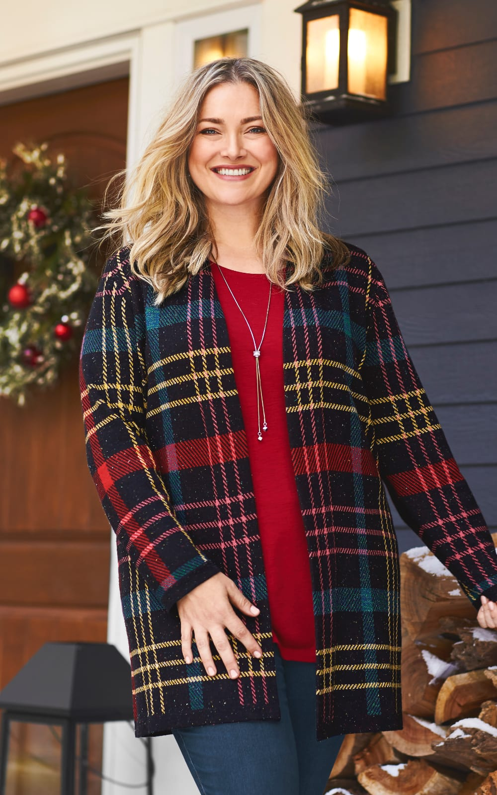 The Happy Holidays Outfit: Plaid coatigan, knit layering tunic, jean legging, and lariat necklace.