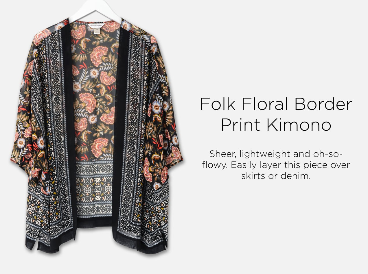 Folk Floral Border Print Kimono. Sheer, lightweight, and oh-so-flowy. Easily layer this piece over skirts or denim.