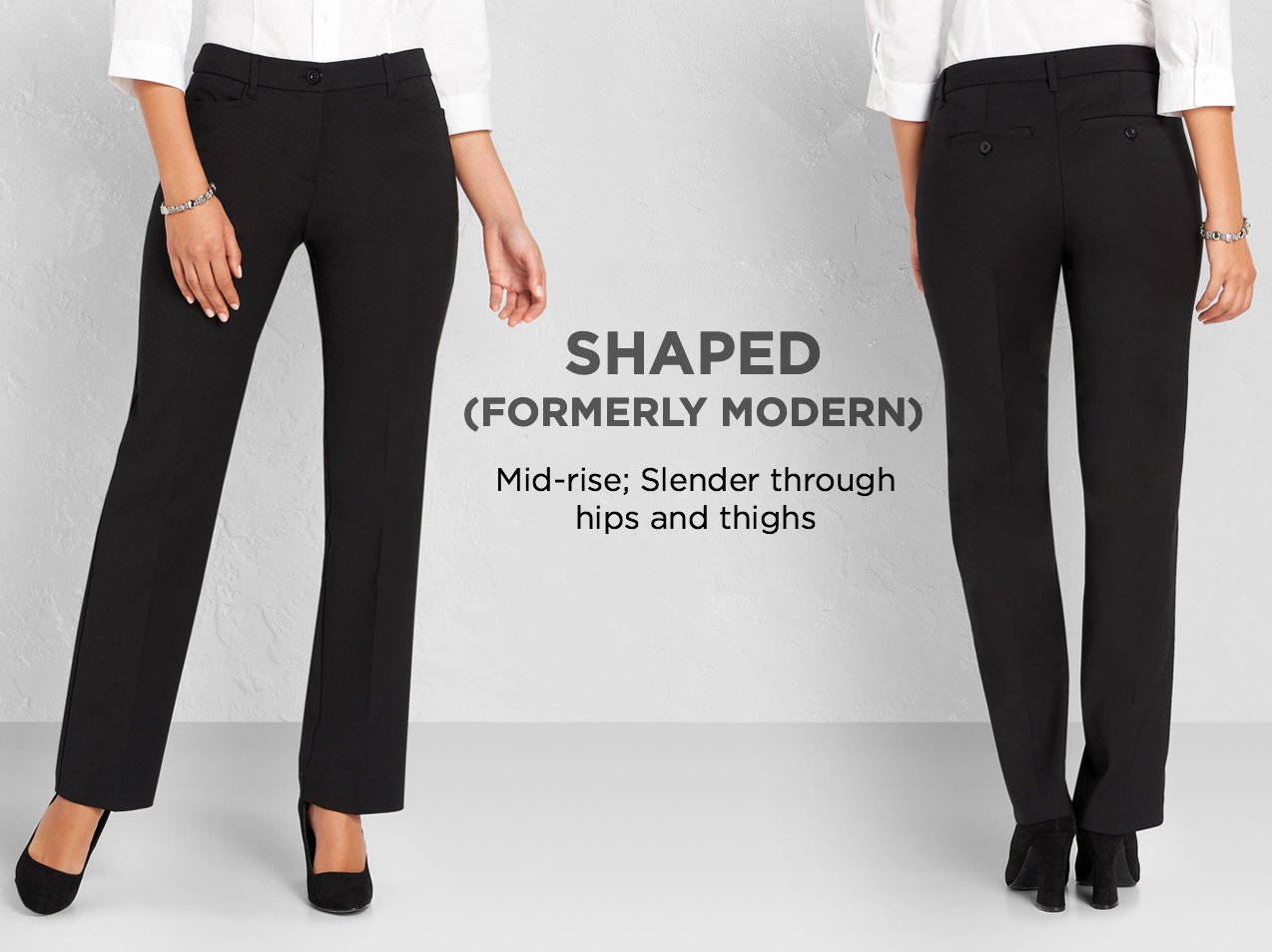 "Shaped (Formerly: ""Moderately Curvy""): Slender through hips and thighs."
