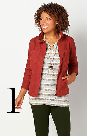 1. Try combining the Solid Twill Jacket with a Multi-Stripe Lace-Up Top and Signature Slimming Straight Jean.