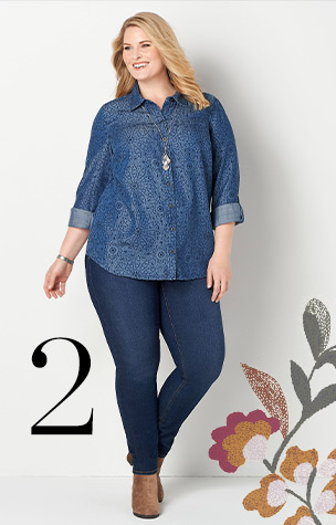 2. Try combining the Everyday Slim Jean with a Printed Denim Tunic.