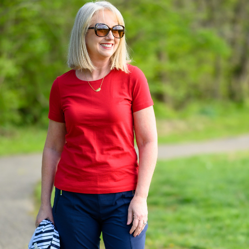 "A Christopher & Banks blogger, ""Kay"", wearing a Short Sleeve Jewel Neck Tee."